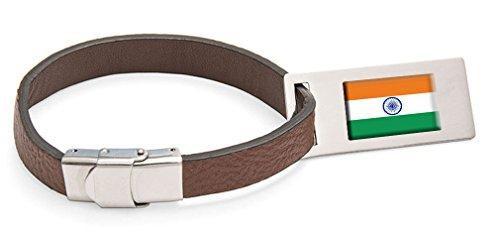 Indien Fahne Leder Kofferanhänger Edelstahl Gravur Text