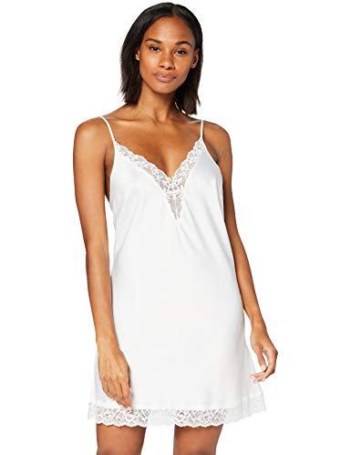Amazon-Marke: Iris & Lilly Damen Satin-Negligé, Weiß (Bright White), S, Label: S