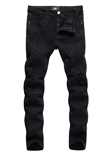 ZLZ Slim Fit Biker Jeans, Men's Super Comfy Stretch Skinny Biker Denim Jeans Pants, Size 34 (Rip-Black)