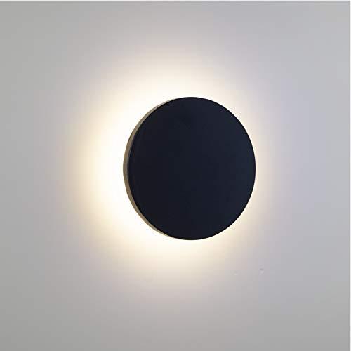 Aplique de pared impermeable LED redondo negro de estilo moderno de 12 W, se puede instalar en interiores y exteriores luz cálida de(4000K)[Clase de eficiencia energética A ++]