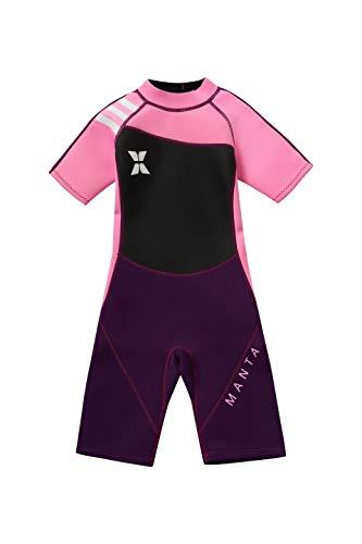 DIVE&SAIL Maillot de Neopreno Corto para Niñas de 2.5mm con Mangas de Protección Solar Mantener Calor Cómodo Traje Húmeda de Niñas Wetsuit - Negro rosa - Talla M