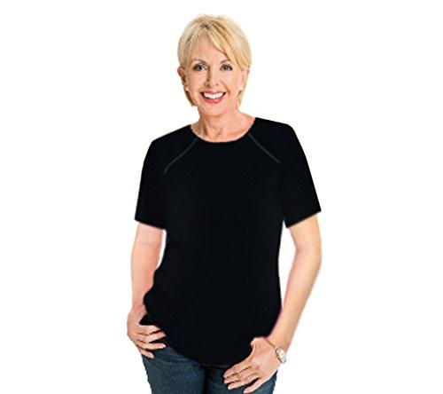 Comfy Chemo Women's Short Sleeve Chemotherapy Port Zipper Shirts (Medium, Black)