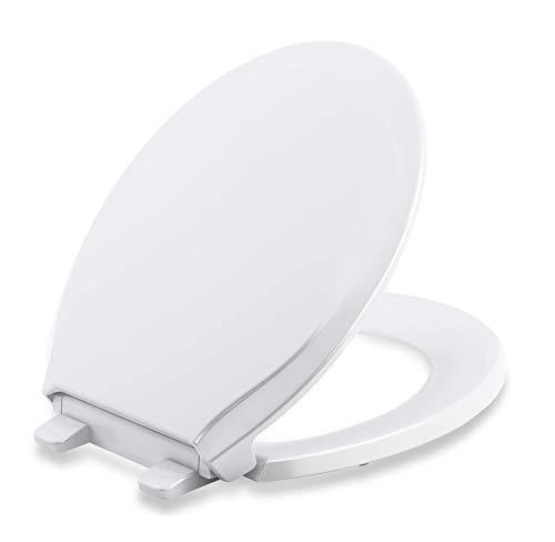 Sedile WC Universal Top Product Copriwater Universale Forma O con Chiusura Rallentata ,Tavoletta WC in Polietilene Antibatterico , Bianco,Facile da smontare, facile da pulire, Fissaggio Aggiustabile