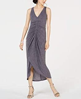 VINCE CAMUTO Womens Gray Ruched Glitter Sleeveless V Neck Tea-Length Dress US Size: 12