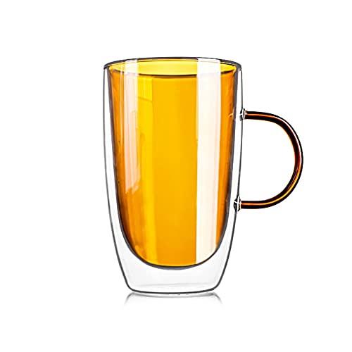 Tazas de Vidrio Doble Pared,Taza de Café Home con Asa, Anti-Escaldado y Resistente Al Calor Taza Té con Leche De Vaso Adecuado para Bebidas FríAs y Calientes,Cerveza, Capuchino