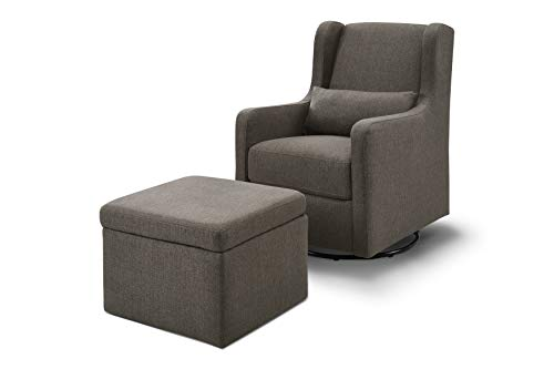 Carter's by Davinci Adrian Swivel Glider with Storage Ottoman in Charcoal Linen, Water Repellent and Stain Resistant Fabric, Greenguard Gold Certified