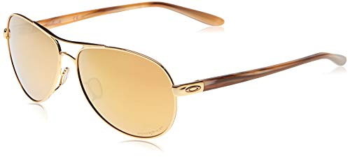 Oakley Women#039s OO4079 Feedback Metal Aviator Sunglasses Polished Gold/Prizm Rose Gold Polarized 59 mm
