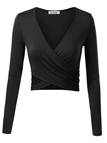 VETIOR Women's Deep V Neck Long Sleeve Unique Cross Wrap Slim Fit Crop Tops Small Black