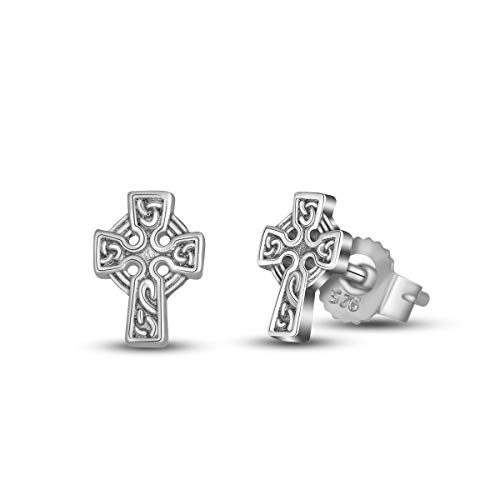 INFUSEU 925 Sterling Silver Irish Celtic Knot Stud Earrings for Women (Cross)