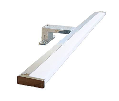 PHOENIX - Lámpara de espejo LED para baño, 60 cm, 6 W, 600 lm, 220 V, 4000 K, aluminio cromado, IP44 Clase II, no regulable, instalación de espejo y marco, luz natural, 600 mm