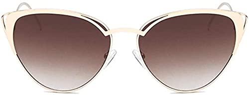 Nuevo triángulo de metal caja pequeña ojo de gato gafas de sol oro hueco personalidad marco UV400 protección unisex (color: marrón)-marrón