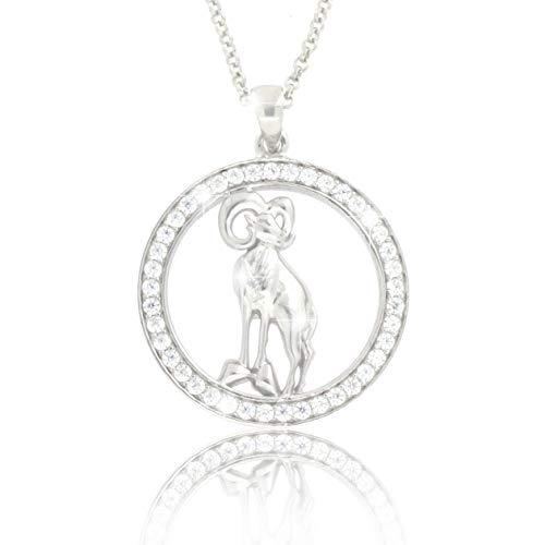PAVEL´S Damen Sternzeichen Kette Halskette WIDDER aus echtem Silber 925 Anhänger mit glänzenden Zirkonia in AAA Qualität Halskette aus der Kollektion ECLIPSE inkl. Schmuckbox und Echtheits-Zertifikat