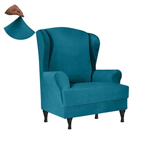 SINKITA Velvet Wingback Chair Covers,Wingback Chair Slipcover Wing Chair Covers Wing Chair Slipcover Furniture Covers for Wingback Chairs Armchair Chair-Sky blue-2-Piece