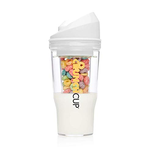 The CrunchCup XL - A Portable Cereal Cup - No Spoon. No Bowl. It's Cereal On The Go. (XL, White)