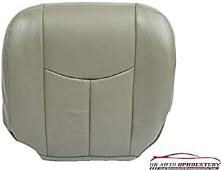 us auto upholstery Compatible with 2003 2004 Chevy Silverado 3500 LT Driver Bottom Leather Seat Cover Gray