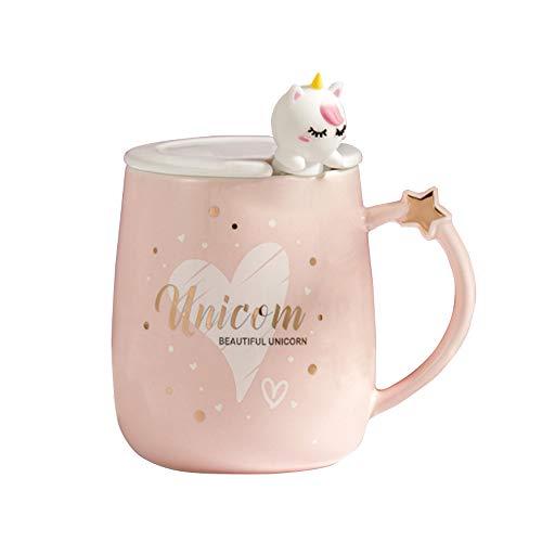 Rosa Tazza unicorno Cuore Tazza da caffè in ceramica con Lovely Unicorn Spoon, Tazza...