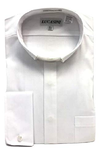 Lucasini Big and Tall Tab Collar Clergy Shirt French Cuff in White, Black, and Purple (White, 20' Neck/36'-37' Sleeve)