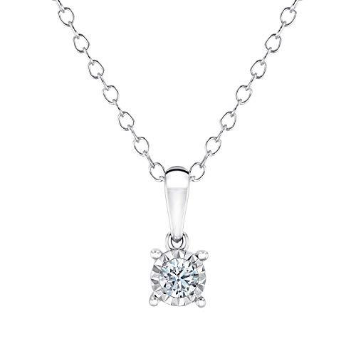 Endless Sparkle Round Diamond Solitaire Pendant Necklace 1/10ct