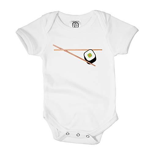 The Spunky Stork Sushi Chopsticks Organic Cotton Baby Bodysuit (6-12M) White