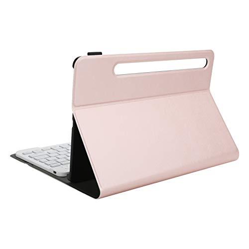 Teclado Bluetooth ultrafino con estuche, núcleo de teclas de chocolate ABS, con efecto de retroiluminación, la cubierta del soporte de cuero protege su pantalla, para Tab s7 de 11 pulgadas(Oro rosa)