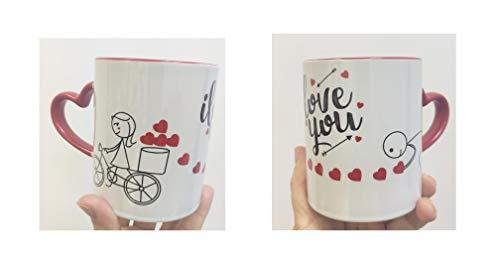 Los Eventos de la Tata. Taza corazón de Amor ideal para San valentín Regalos originales para tu pareja