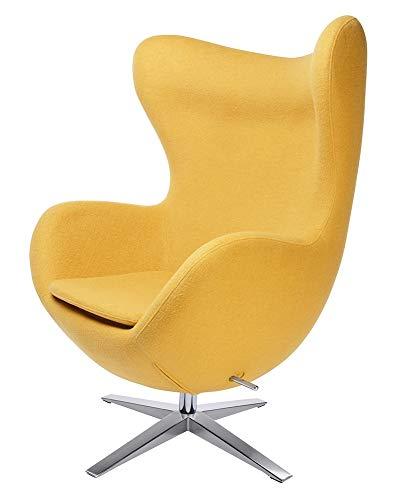 furnigo   Designer Sessel in Ei Form, Reproduktion, Zeitlos, Viele Farben, Wollstoff Gelb (Senf)