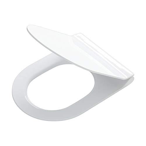 Tiger Toilettensitz Veiros im Super-Slim-Design, extra-flacher WC-Sitz mit Absenkautomatik und Easy-Clean-Funktion, Edelstahlbefestigung