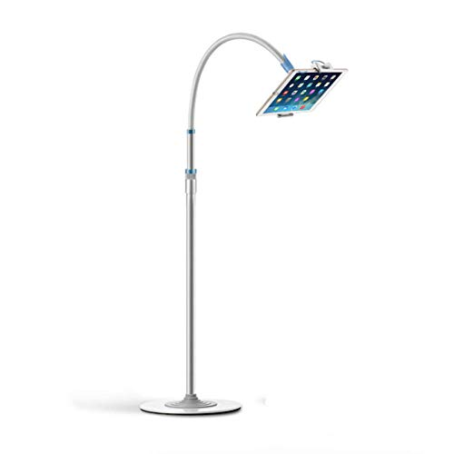 DWXN Aleación De Aluminio Tablet Holder Tripod,Altura Regulable 136-187cm/53.5-73.6in,Plata Sujeta iPad Cama para 4.7~10.5'Pad Air Pro Mini, Samsung Tab, Phone, Más Dispositivos