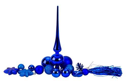 100 teiliges Set Weihnachtskugel Lamettini Lametta Anhänger Christbaumspitze (Blau)
