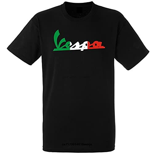 Scooter Vespa - Camiseta de algodón transpirable unisex de manga corta para hombre, Negro, 50