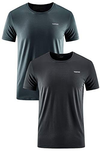 YAWHO Herren Sport T-Shirt 1 Bis 3er Pack Kurzarm Rundhals Atmungsaktiv Schnelltrocknendes Funktionsshirt Laufshirt Fitnessshirt Trainingsshirt f¨¹r Running Workout Bodybuilding Gym (Black+Grey, L)