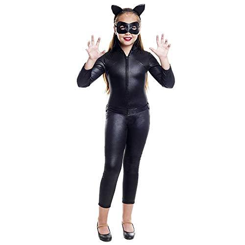 Disfraz Cat Girl para niña【Tallas Infantiles de 3 a 12 años】(Talla 10-12 años) | Disfraz superheroína Gato Niña Carnaval Halloween Fiestas Actuaciones Teatro
