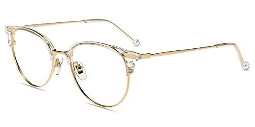 Firmoo Blaulichtfilter Brille Damen Transparent Gold, Brille Entspiegelt Ohne Sehstärke Computer Brille Herren, Blaulicht UV Schutzbrille für Bildschirme, Blaufilter Gläser Brille