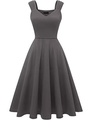 DRESSTELLS Damen 1950er Midi Rockabilly Kleid Vintage V-Ausschnitt Hochzeit Cocktailkleid Faltenrock Darkgrey M
