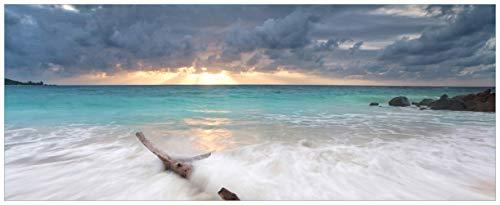 Wallario Acrylglasbild XXL Wellen am Strand bei Sonnenuntergang - 80 x 200 cm in Premium-Qualität: Brillante Farben, freischwebende Optik