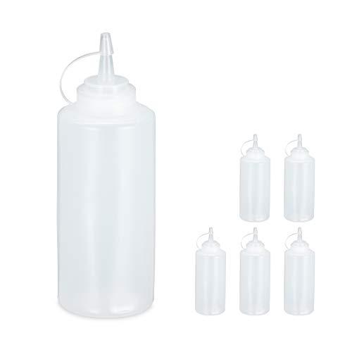 Relaxdays 10028641 - Juego de 6 botellas de plástico para salsas, 450 ml, para rellenar, transparente