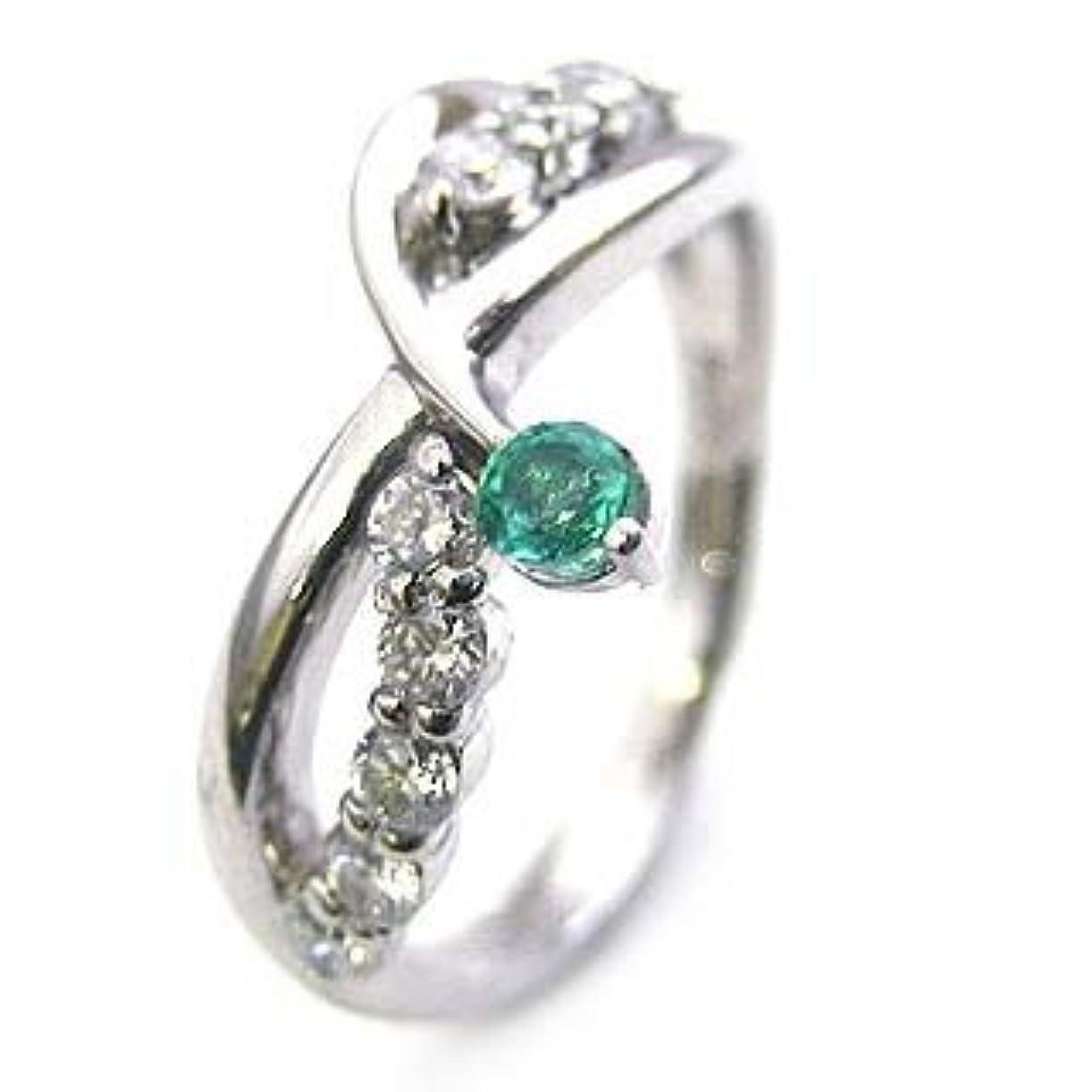 逆に感嘆ズボン(婚約指輪) ダイヤモンド プラチナエンゲージリング(5月誕生石) エメラルド #17