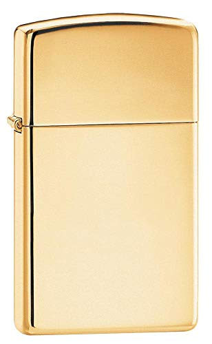 Zippo 60001177 Brass High Polished Slim Feuerzeug, Messing, Gold, one Size