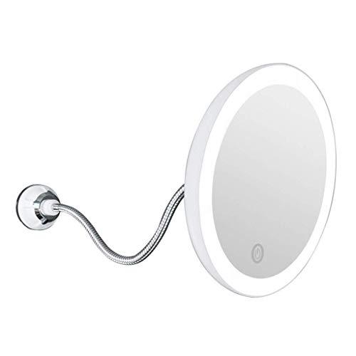 TTFFTT Bagno Banco di Vanity Specchi LED 5X ingrandimento Illuminato Vanity Specchio di Trucco di 8 Pollici Bagno Perfetto Trucco dello Specchio Blocco aspirazione Doppia alimentazion