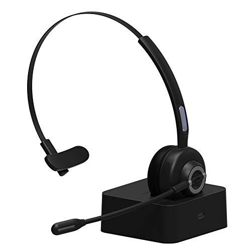 VABOO Auriculares Bluetooth con Micrófono, Auriculares Over Ear V5.0 Auricular Inalámbrico Bluetooth Diadema con Base de Carga, Cancelación de Ruido, Auriculares para Centro de Llamadas, Skype