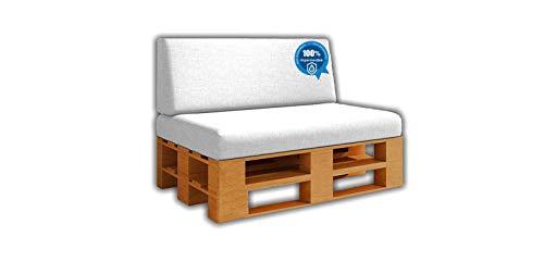 Saving Pack Cuscini seduta + schienale per divano pallet / europalet | Rimovibile | Interni ed esterni | Colore bianco nautico | 100% impermeabile | Schiuma ad alta densità.