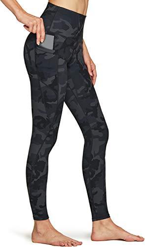 TSLA Pantalones de yoga de cintura alta para mujer, con bolsillos, control de abdomen, leggings de yoga, mallas elásticas de 4 vías Fap58 1pack - Camo Black L