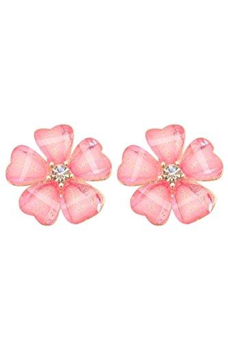 clous d'oreilles de fleur - SODIAL(R) Femmes Fleur strass cristal clous d'oreilles Boucles d'oreilles Roses