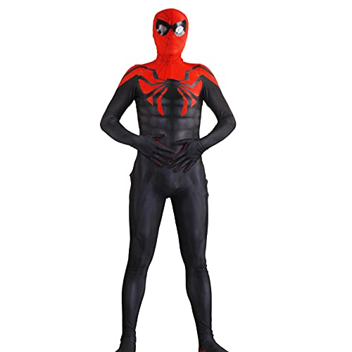 Niño Ultimate Spiderman Costume Adultos Cosplay Jumpsuit Niño Superhéroe Zentai Easter Carnival Onesies Fancy Dress Outfits Halloween Prom Masquerade Body,Black-Kids/XS/85~105cm