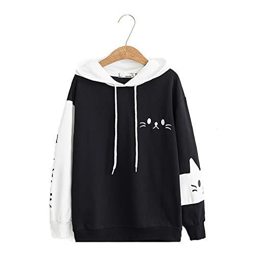 Womens Japanese Kawaii Pullover Hoodie Kitty Cat Sweatershirt Sweater Tops