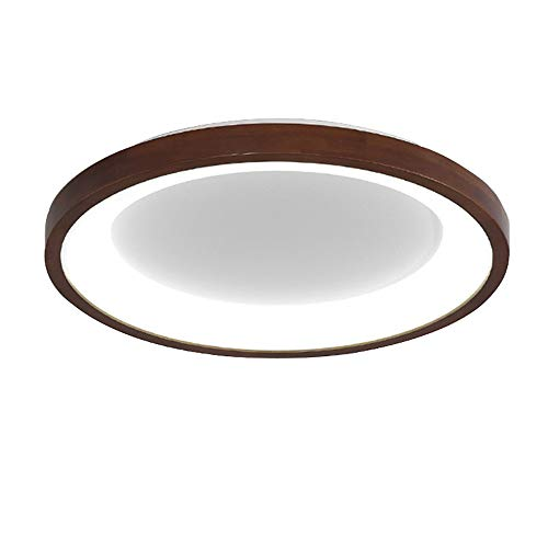 Lámpara de techo LED Madera Moderno redondo Calado Lámpara de comedor Regulable con control remoto Sencillo Luz de Techo marrón Lámpara de madera por sala dormitorio comedor Comedor salón Pasillo,B