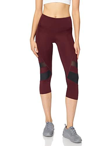 Amazon Brand - AURIQUE Leggings deportivos capri con paneles para mujer, Rojo (puerto/negro)., 36, Label:XS