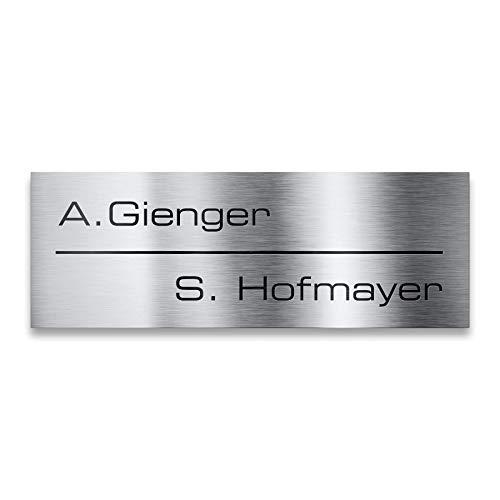 Namensschild aus Edelstahl – z.B. als Tür- oder Briefkastenschild - inklusive Gravur - selbstklebende Rückseite 85x30 mm