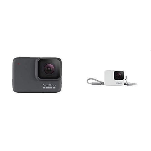 GoPro HERO7 Silber – wasserdichte digitale Actionkamera mit Touchscreen, 4K-HD-Videos, 10-MP-Fotos + Hülle + Trageband (offizielles Zubehör) Weiß