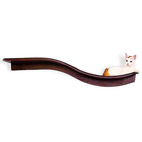 The Refined Feline Lotus Branch Cat Shelf, Sturdy Wave Design Cat Wall Perch, Wooden Comfortable Berber Carpet Faux Fur Cats Bed
